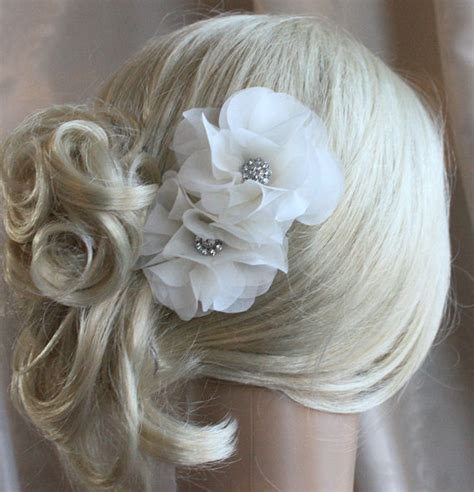 hair flower clip bridal wedding flower girl tulle silk silk organza flowers hair clip for wedding by wearableartz