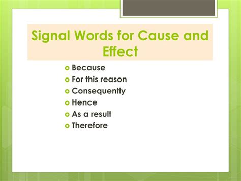 cause and effect pattern of organization words ppt patterns of organization and signal words powerpoint