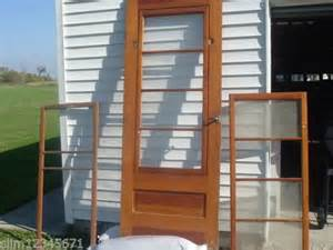 antique solid wood glass screen door w 2 inserts 81 quot x 32 1 2 quot