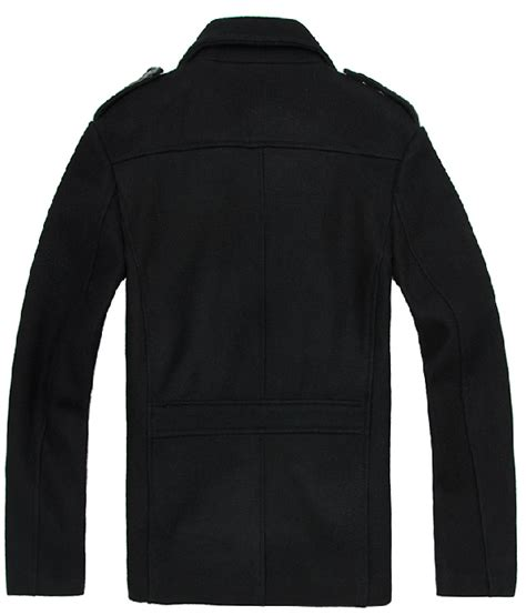 black leather pea coat mens new black pea coat for wool with faux leather trim sale get mens new black