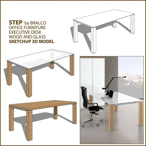 Office Desk Glass Cover Furniture For Sketchup