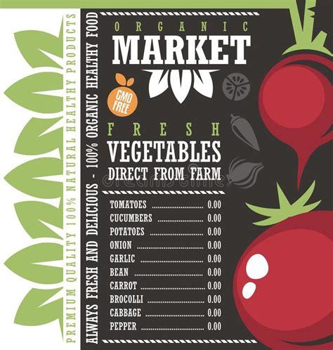 banner design price list farm fresh vegetables market price list template stock