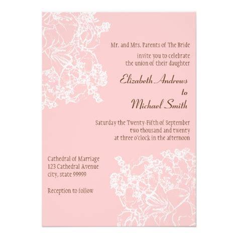 pale pink wedding invitations light pink floral wedding invitation zazzle