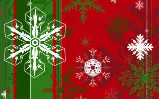 snowflakes of different shapes on the green and red