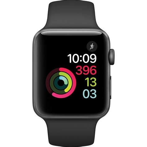 Apple Sport Rubber Iwatch Iwo 2 42mm Gray apple series 2 42mm space grey aluminium with black sport band mp062