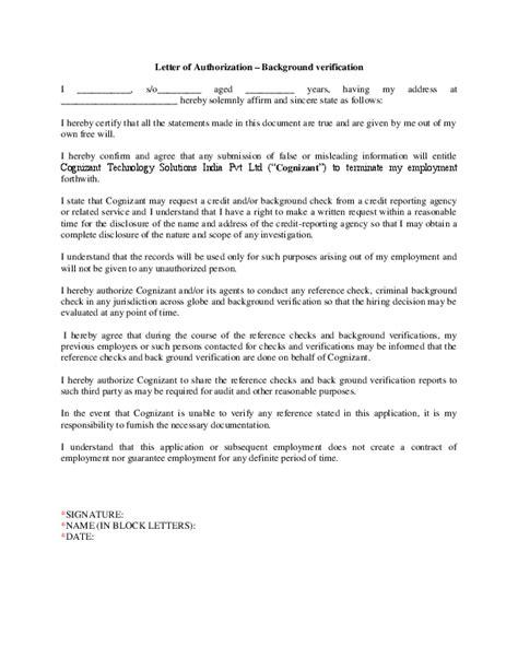 letter authorization background verification