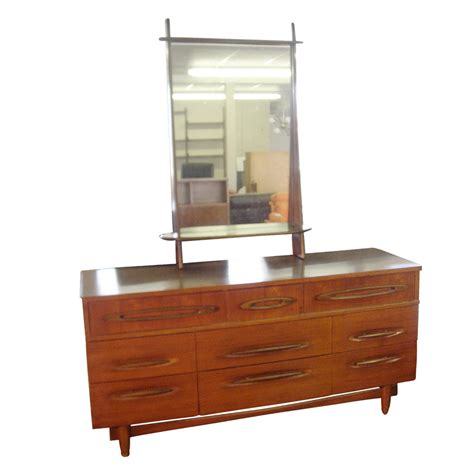 1950s bedroom furniture 5ft vintage wood 9 drawer dresser with mirror ebay