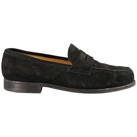 lobb loafers s lobb size 8 5 black suede cus loafers for