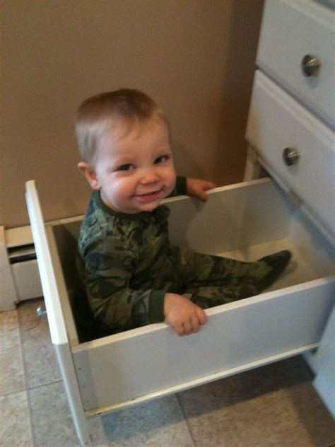 Baby In Drawer by Baby Climbs In Drawer Wordless Wednesday