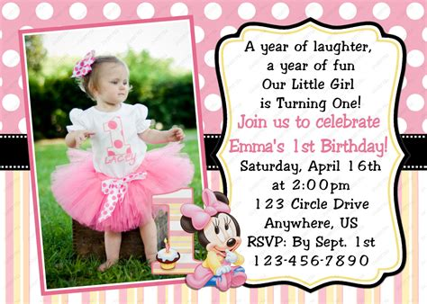 1st Birthday Invitation Card In Minnie Mouse Baby 1st First Birthday Invitation Or Thank You