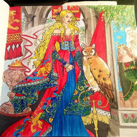 thrones colouring book coloured in cersei lannister from a of thrones coloring book