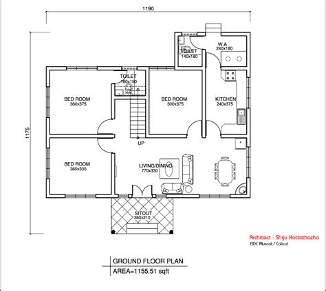 single house plans single floor kerala style house design 1155 sq ft