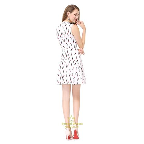 Print Bow Sleeveless Dress white sleeveless print fit and flare embellished