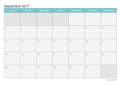 Calendrier Septembre 2017 Pdf Calendrier Septembre 2017 224 Imprimer Icalendrier