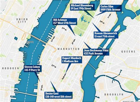 3 New York Fashion Houses On Maps View by Where The World S Richest Live In Manhattan Daily Mail
