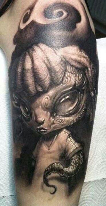cute alien tattoo black gray on arm tattooimages biz