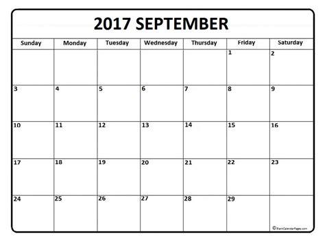 Free Printable 2017 Calendar September