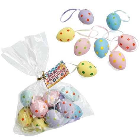 Easter Egg Decorations Uk by 12 Spotty Painted Hanging Easter Egg Decorations Dotcomgiftshop Winter Sale Now On