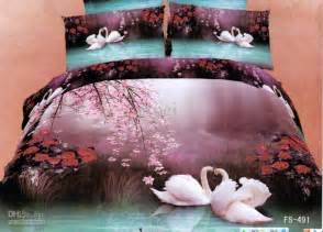 Cheap Quality Bed Linen - 3d purple blue swan floral comforter bedding set sets queen king size duvet cover bedspread bed