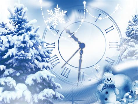 new year clock screensaver snowfall clock