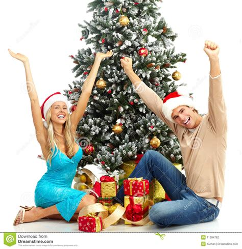 christmas couple stock photo image of happy isolated