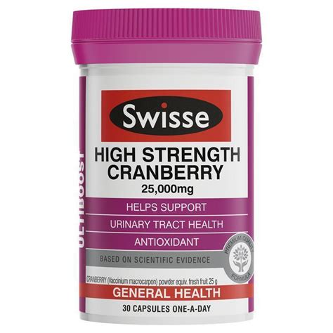 swisse ultiboost high strength cranberry 25 000mg 30 capsules epharmacy