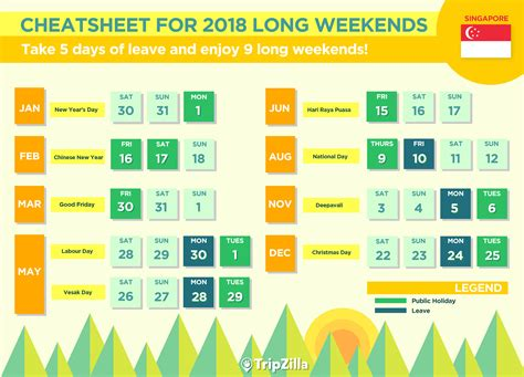 new year 2018 singapore holidays 9 weekends in singapore in 2018 bonus calendar