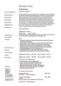 Esthetician resume, facial, hair, skin, sample, example