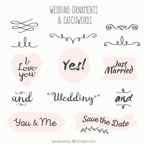 Wedding Font Ornament by Wedding Ornament And Catchword Collection Vector Free