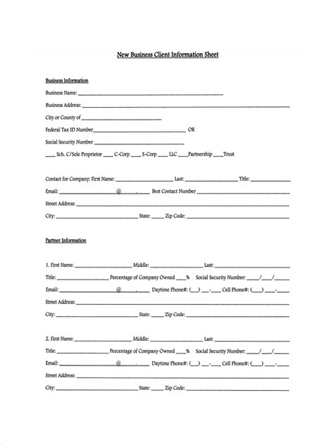 business information form template 13 exles of client information sheets