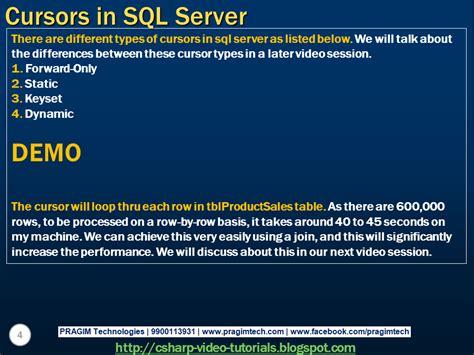 tutorial video sql sql server net and c video tutorial part 63 cursors