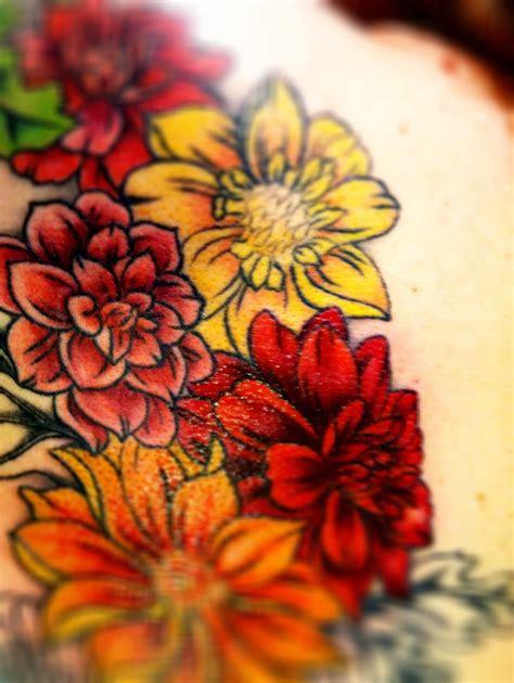 colour flower tattoo designs 11 dahlia flowers designs