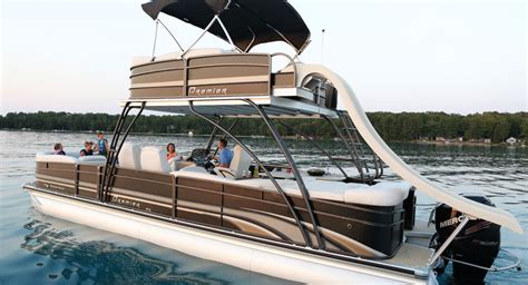 deck boat or pontoon double terrace deck pontoon boat with a slide from