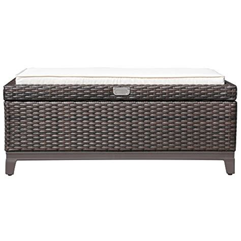 wicker storage bench with cushion patioroma outdoor patio aluminum frame wicker cushion