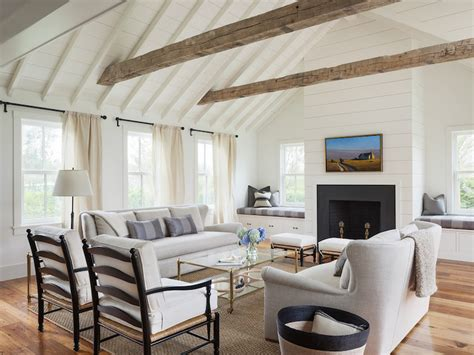 White Dove Ceiling by Fireplace Between Window Seats Transitional Living Room