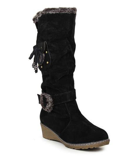 stylistry black suede flat knee length boots price