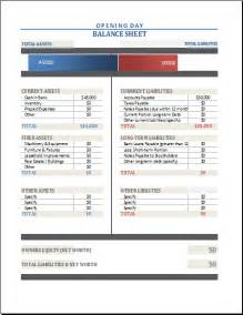 opening balance sheet template opening day balance sheet template for excel excel templates