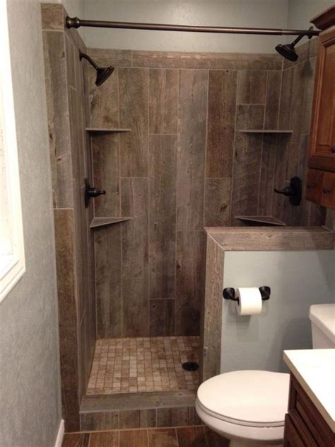 bathroom with wood tile rustic wood tile bathroom brown color mosaic pattern