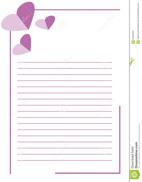 Letter Lines Vector Blank For Letter Or Greeting Card White Paper Form With Pink Hearts Lines And Border