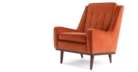 orange armchair scott armchair burnt orange cotton velvet made com
