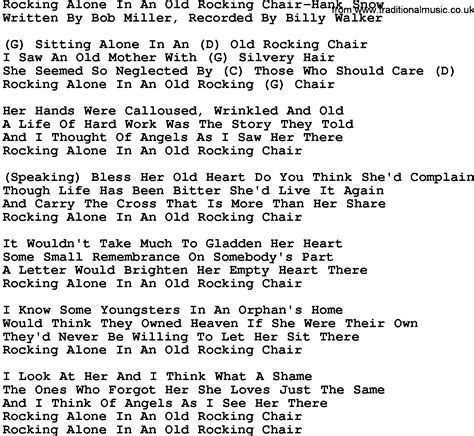 The Chair Chords by Country Rocking Alone In An Rocking Chair Hank