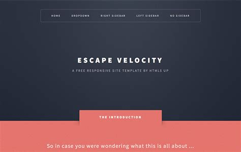 escape velocity one page responsive html5 template