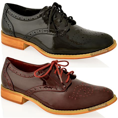 Black Master Original Casual Shoes Work Office Casual womens casual burgundy brogue patent lace office