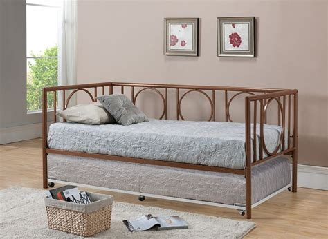 Daybed Frame With Trundle Copper Finish Metal Astoria Day Bed Daybed Frame With Trundle Mattresses New Ebay