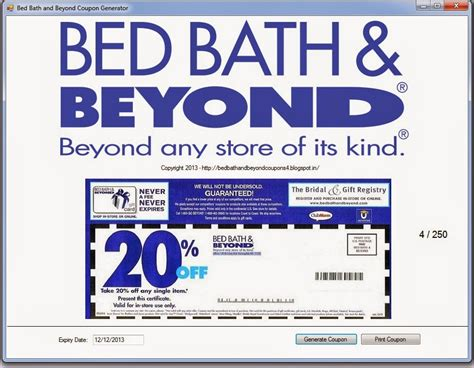 Bed Bath And Coupon by You Must Print This Coupons To Get A Percentage Of 20