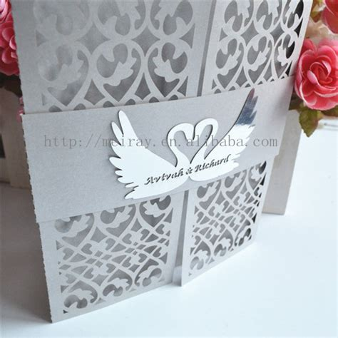 Swan Wedding Invitation Cards luxurious swan wedding invitations laser cut cards and