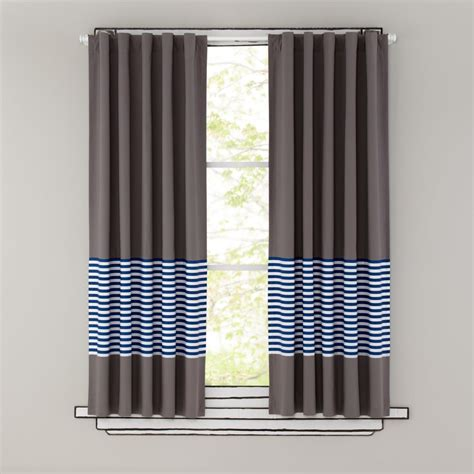 Grey Striped Curtains Curtains Blue Stripe Grey Window Curtains The Land Of Nod