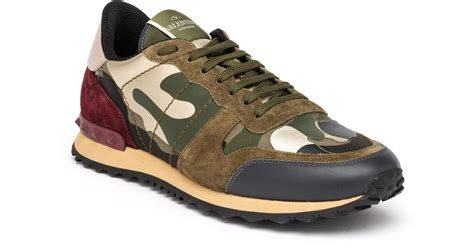 valentino camo sneakers valentino rockrunner camouflage sneakers in green for