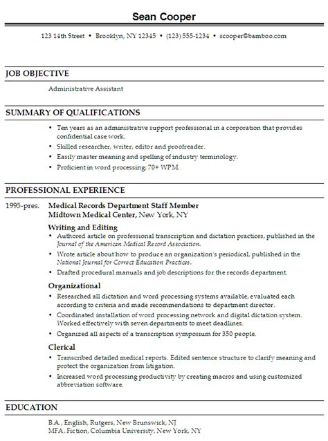 Sample Resume With Skills And Abilities by Resume Administrative Assistant Professional Susan