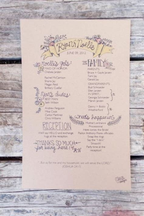 Single Page Wedding Program Templates For Illustrator One Page Wedding Program Template